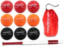 """PowerNet Sweet Spot Training Bat + Baseball 2.8"""" Progressive Weighted Ball 9 PRO Pack Bundle 