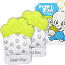 Delight Paw Baby Teething Mitten Mom Designed | Self Soothing Pain Relief | Hygienic Travel Bag | No BPA | Like Munch Mitt | Baby Boy Baby Girl | Babies 0-12 Months | Glorious Green | 2 Pack