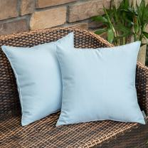 MIULEE Pack of 2 Decorative Outdoor Waterproof Pillow Covers Square Garden Cushion Cases Throw Pillow Cover Shell for Patio Tent Park Couch 18x18 Inch Light Blue