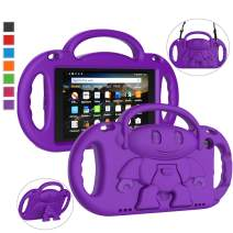 LTROP All-New Fire HD 8 Tablet Case, Fire 8 2018 Case for Kids - Light Weight Shock Proof Handle Friendly Stand Child-Proof Case for Fire 8-inch Display Bumper Cover (2017&2018 Release) (Purple)