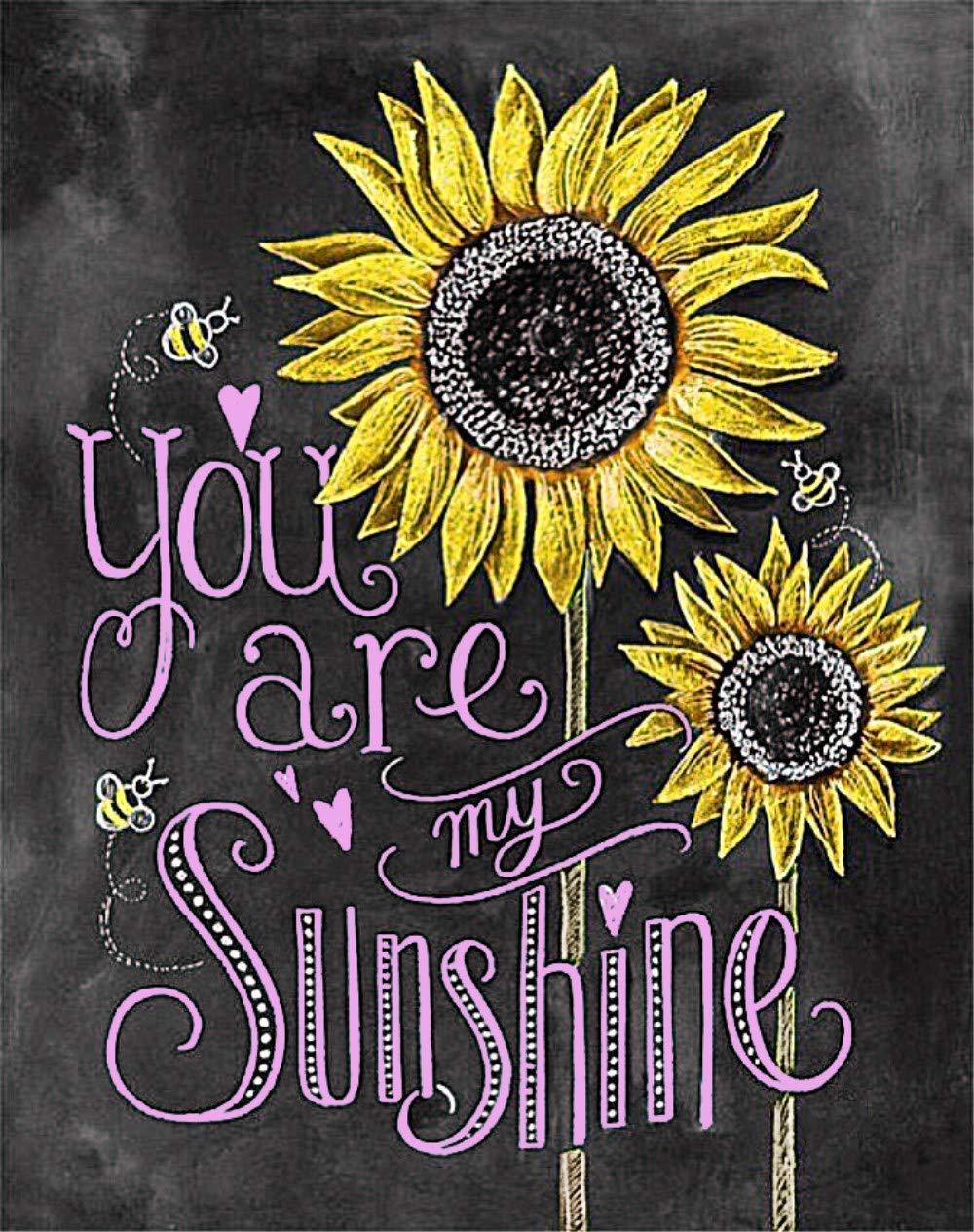 You are My Sunshine Diamond Painting Kit - pigpigboss 5D Full Diamond Painting by Numbers for Adults Sunflower Diamond Painting Art Gift for Kids (11.8 x 15.7 inches)