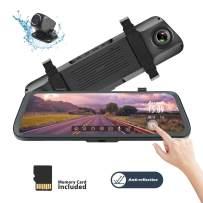 Acumen Mirror Dash Cam Digital Rear View Mirror 10'' Touch Screen, Dual Lens 1080P Full HD Cameras ADAS Motion Detection Parking Mode G-Sensor Loop-Recording Night Vision with 16GB SD Card (R1080P)