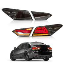 MOSTPLUS LED Tail Lights for 2018 2019 Toyota Camry Rear Lamps Assembly w/Sequential Turn Light (Set of 2) (Smock Tinted)