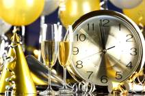 Laeacco Happy New Year 2019 Backdrop Vinyl 10x8ft Classical Alarm Clock Countdown Champagne Golden Cap Yellow Balloon Background New Year's Eve Party Banner Child Baby Adult Portrait Shoot Poster
