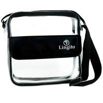 Lingito Clear Crossbody Messenger Bag | NFL Stadium Approved Transparent Tote Purse | 100% Water Resistant with Adjustable Strap | Perfect for Work, School, Sports Games & Concerts! (8.5 x 8.5 x 3in.)