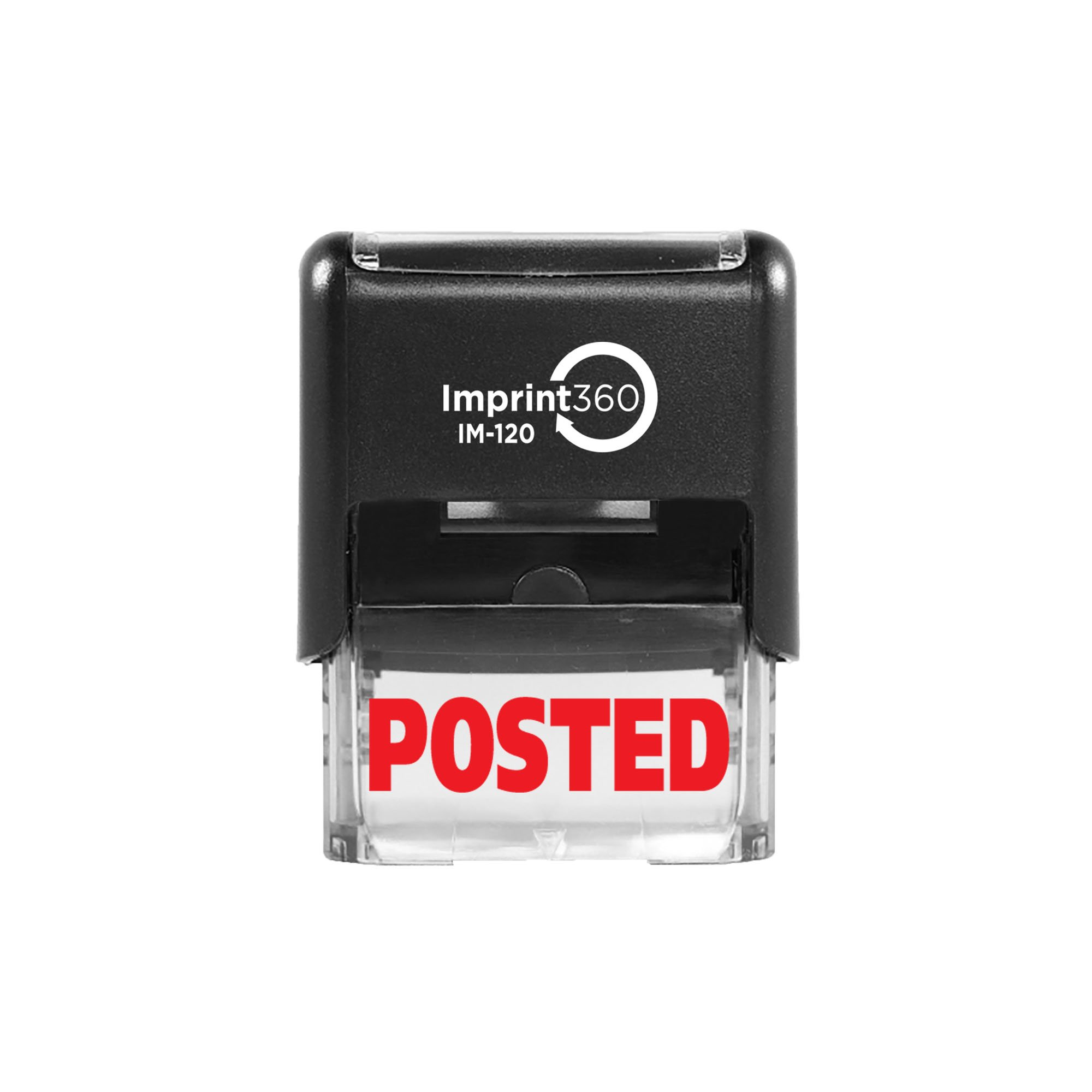 """Imprint 360 AS-IMP1034 - Posted, Heavy Duty Commerical Quality Self-Inking Rubber Stamp, Red Ink, 9/16"""" x 1-1/2"""" Impression Size, Laser Engraved for Clean, Precise Imprints"""