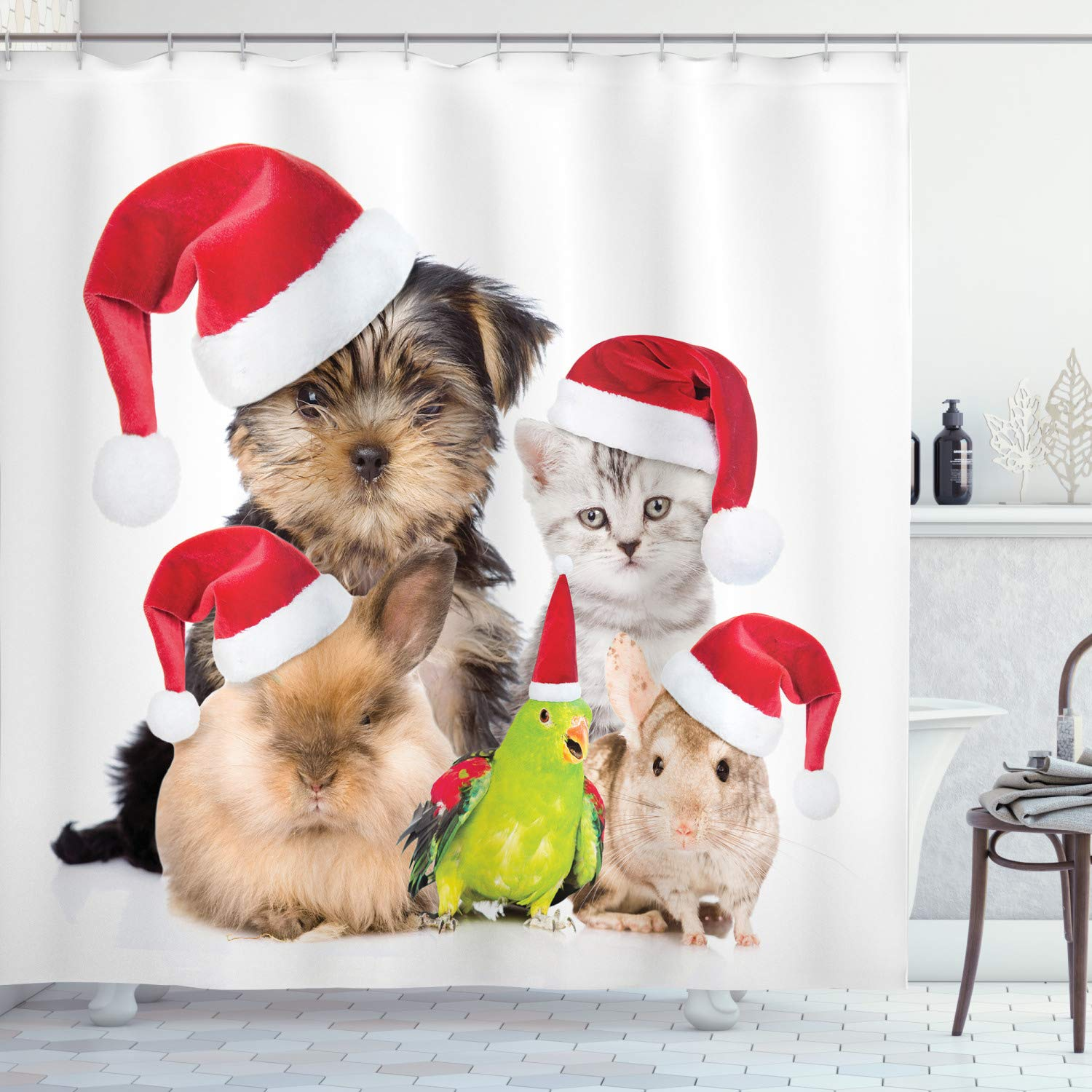 """Ambesonne Christmas Shower Curtain, Xmas Crew Cat Dog Bird Mouse and Rabbit Bunny with Santa Hats Grumpy Pets Picture, Cloth Fabric Bathroom Decor Set with Hooks, 70"""" Long, Red Brown"""