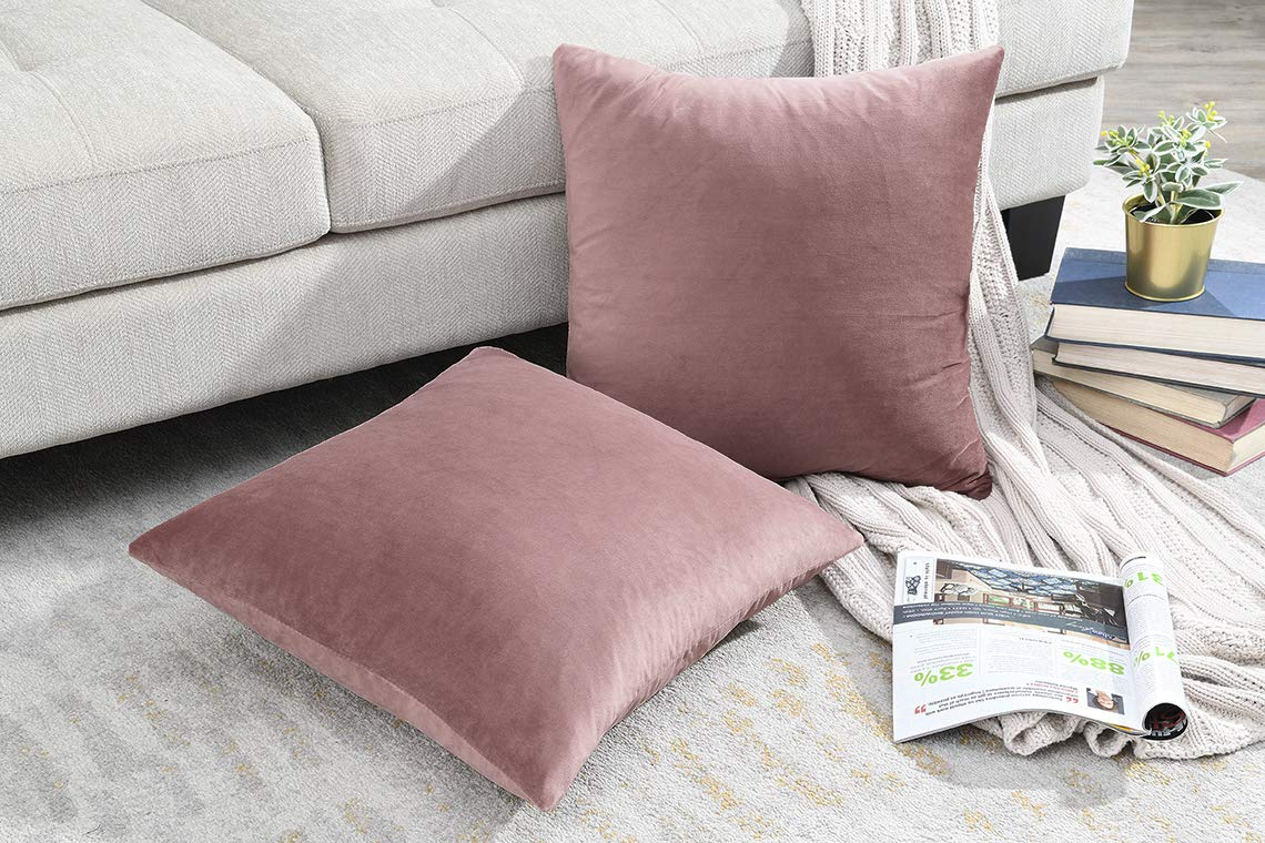 COMFORTLAND New Year/Christmas Decorative Pillow Cases 18x18 Dusty Rose Pink: 2 Pack Cozy Soft Velvet Square Throw Pillow Covers for Farmhouse Sofa Couch Bed Chair Home Decor Decorations