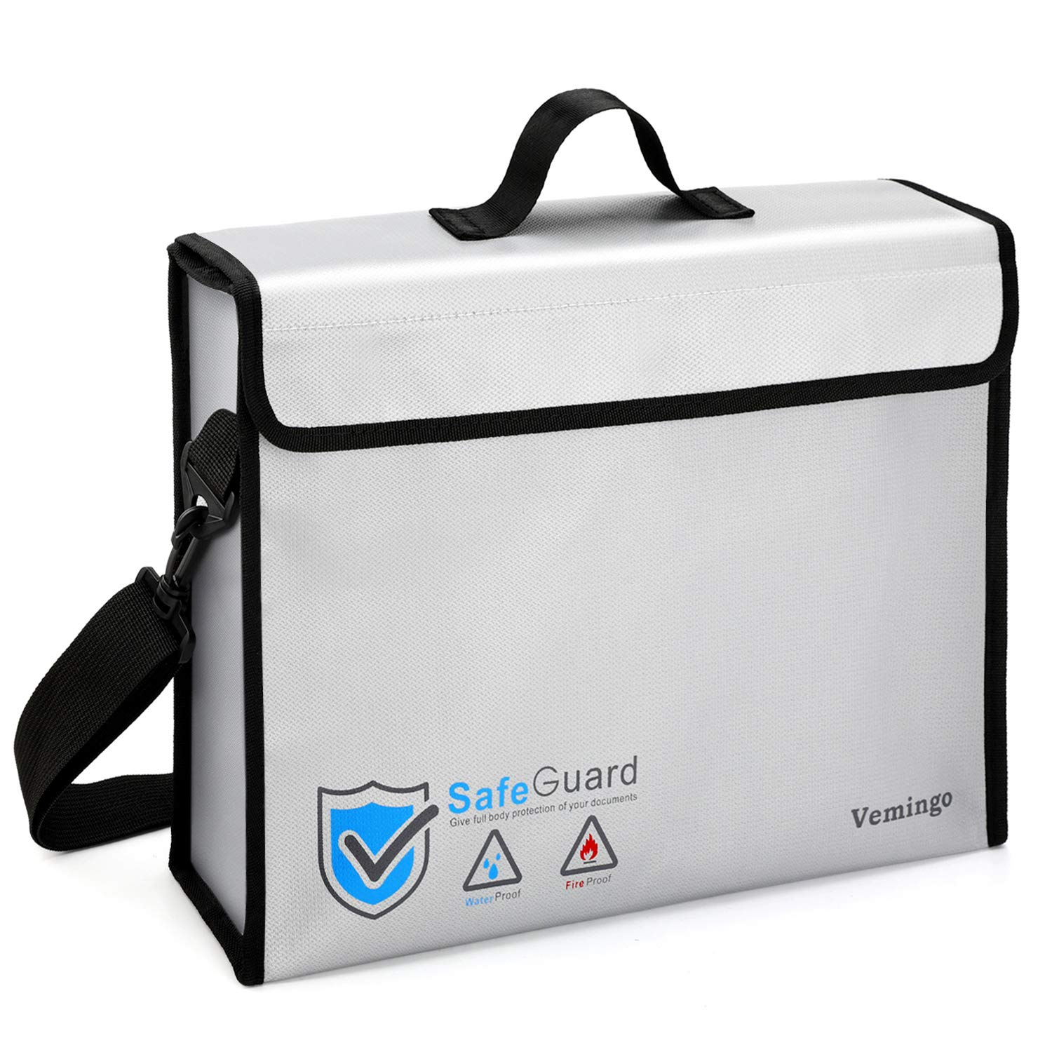 Fireproof Document Bag, Vemingo Water Resistant Fireproof Safe Money Bag Pouch Anti-Irritation Silicone Coated Fire Holder Storage for Money, Documents, Jewelry and Passport