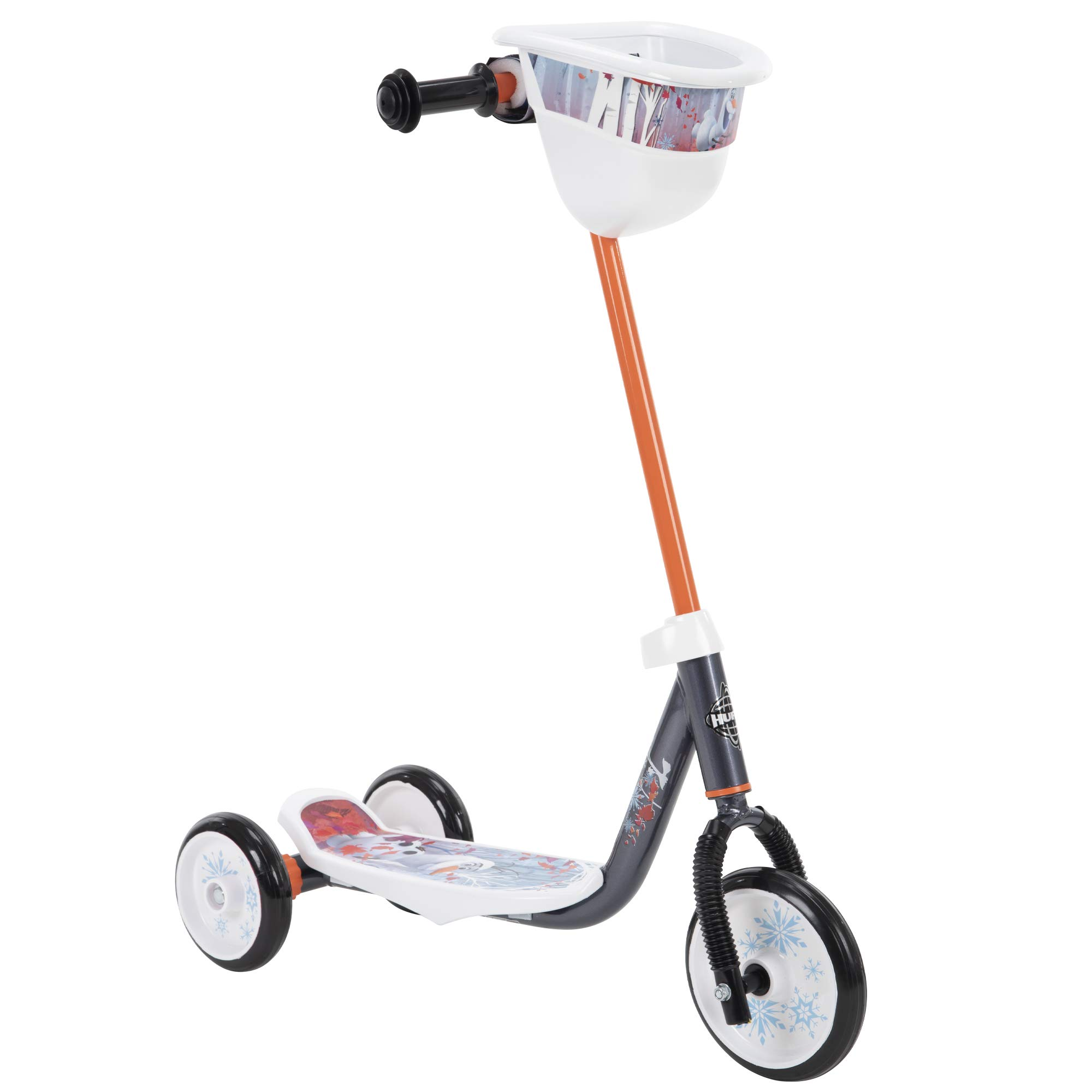 Huffy Frozen 2 Olaf Preschool Scooter, Handlebar Bin, Three Wheels & Wide Deck
