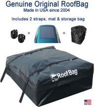 RoofBag Rooftop Cargo Carrier, Made in USA, 11 Cubic Feet. Waterproof Car Top Carriers for Cars with Racks or Without Racks Include Roof Protective Mat, Storage Bag and Straps