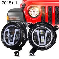 MOVOTOR JL LED Headlights with V DRL Amber Turn Signal Halo+ Headlight Bracket Adapters Compatible with 2018+ Jeep Wrangler JL JLU 2020 Gladiator JT