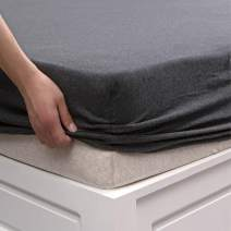 """PURE ERA Jersey Knit Cotton Fitted Bottom Sheet ONLY (No Flat Sheet or Shams) Deep Pocket Up to 15"""" to 20"""" Ultra Soft Comfy Breathable Charcoal Black Queen"""