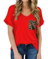 ZILIN Women Basic V Neck T Shirts Short Sleeve Leopard Top Blouses