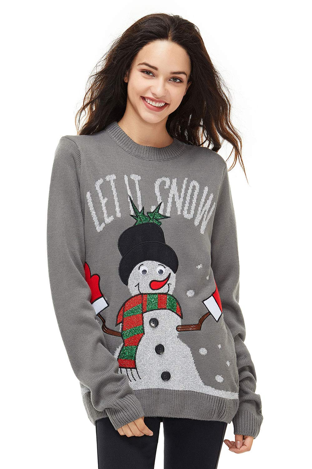 Women's Christmas Ugly Sweater Funny Knit Novelty Pullover Reindeer Pom Poms Snowman, Large