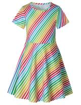 RAISEVERN Girl's Short Sleeve Dress Casual Swing Twirl Skirt for Holiday Theme Party 2-9T