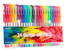 Glitter Gel Pens, 24 Color Gel Pen Glitter Markers for Bullet Journal, Medium Point Drawing Pen for Adult Coloring Books Doodling, 40% More Ink & Great Gift Idea for Kids