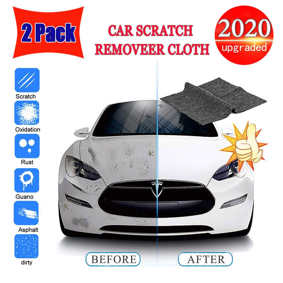 TTOUADY 2 Pack Multipurpose Car Scratch Remover Cloth, Upgraded Car Paint Scratch Repair Cloth, Nanotechnology to Repair Car Scratches and Car Surface Polishing