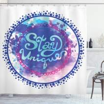 """Ambesonne Motivational Shower Curtain, Inspirational Words on Watercolor Brushstroke Background Retro Print, Cloth Fabric Bathroom Decor Set with Hooks, 84"""" Long Extra, Purple Grey"""