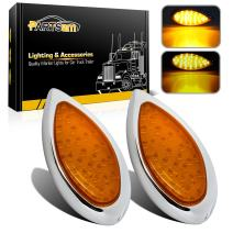 Partsam 2Pcs Replacement for 1938 1939 Hot Rod Amber Led Teardrop Trailer Lights 6 Inch Amber Led Turn Signal and Parking 35 LED Chrome with Bullet Plugs Waterproof Sealed 12V