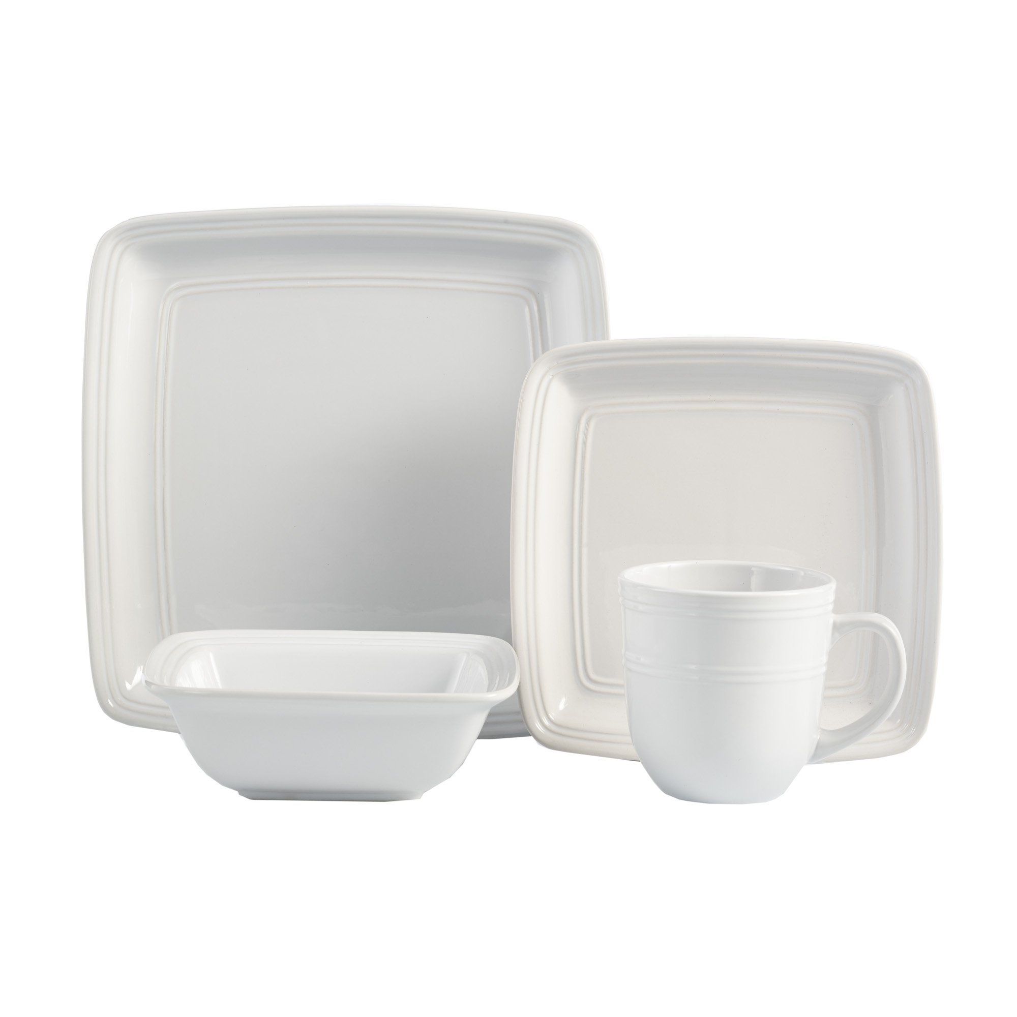 American Atelier Madelyn Square White 16 Piece Dinnerware Set, 10.75x10.75