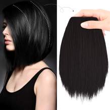 """REECHO 8"""" Thick Hairpieces Adding Extra Hair Volume Clip in Hair Extensions Hair Topper for Thinning Hair Women Color Black Brown"""