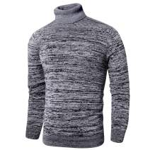 LTIFONE Mens Slim Kintted Long Sleeve Turtleneck Pinstriped Pullover Sweaters