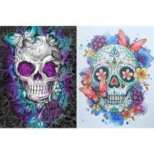 """SKRYUIE 2 Pack 5D Diamond Painting Skull with Butterfly Full Drill Paint with Diamond Art, Skeleton Flower DIY Painting by Number Kits Embroidery Rhinestone Wall Home Decor 30x40cm (12""""x16"""")"""