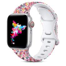 Ouwegaga Compatible with Apple Watch Band 38mm 40mm iWatch SE Series 6 5 4 3 2 1 Bands for Women Men,Fadeless Soft Silicone Floral Printed Pattern Wristbands Straps Magic Cloud,M/L