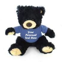 Plushland Black Noah Teddy Bear 12 Inch, Stuffed Animal Personalized Gift - Custom Text on Shirt - Great Present for Mothers Day, Valentine Day, Graduation Day, Birthday (Powder Blue Shirt)