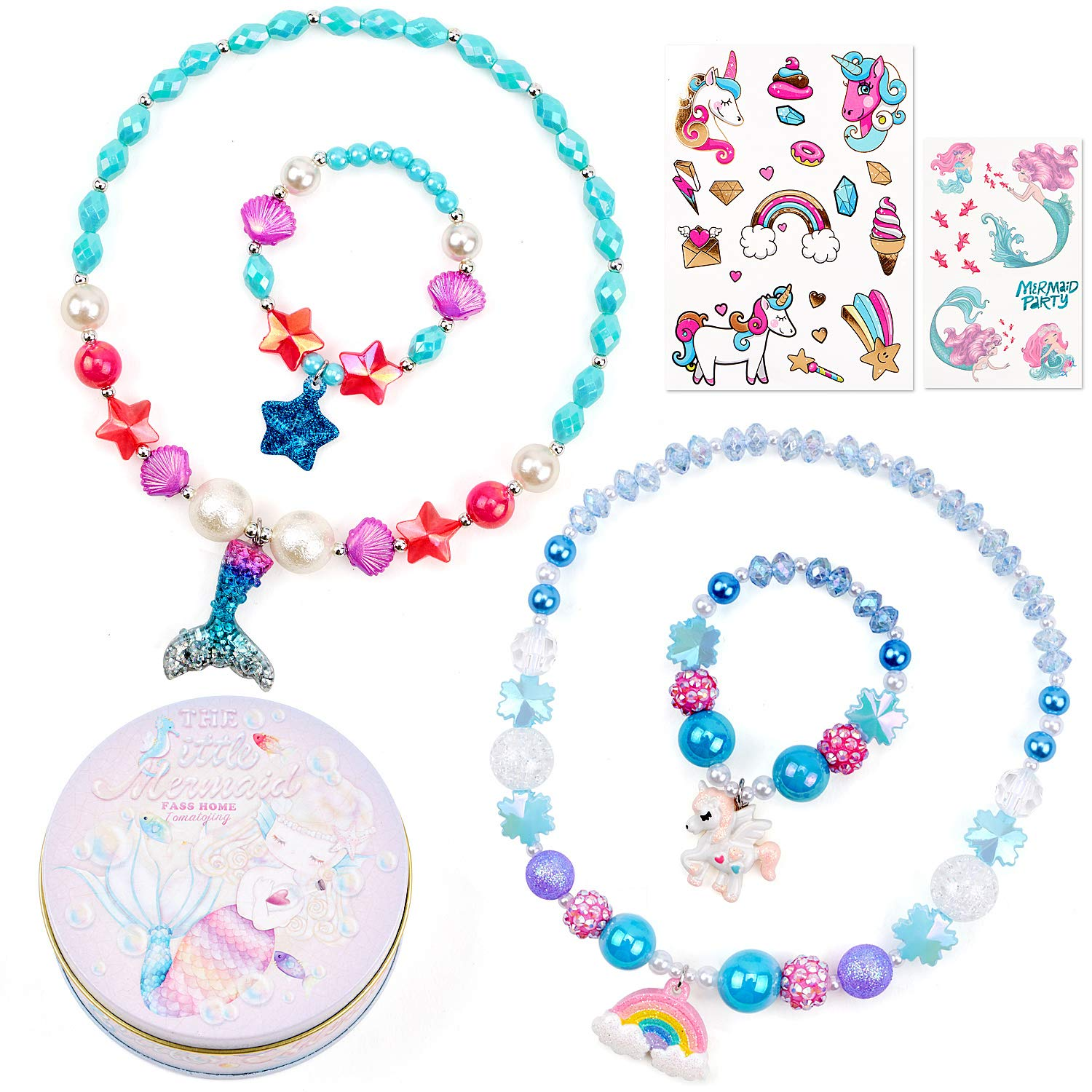 Beaded Necklace and Bracelets for Girls Unicorn Mermaid Rainbow Star Pendant Colorful Princess Necklace Dress Up Pretend Play Jewelry Set Party Favor Gifts for Kids