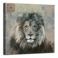 """Canvas Wall Art Lion Animal Painting Prints, Wildlife Animal Picture Stretch and Framed for Bedroom Living Room Bathroom Nursery Home Office Décor, 30""""x30"""" Square Size"""