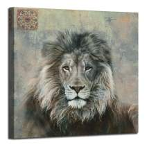 "Canvas Wall Art Lion Animal Painting Prints, Wildlife Animal Picture Stretch and Framed for Bedroom Living Room Bathroom Nursery Home Office Décor, 30""x30"" Square Size"