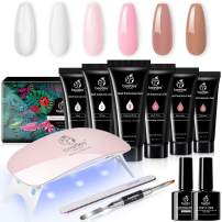 Beetles Poly Extension Gel Nail Kit, Nail Builder Gel Nail Enhancement Trial Kit Professional Nail Technician All-in-One French Kit Gift Set with Mini UV/LED Lamp for Nail Art Starter Kit