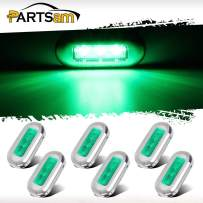 """Partsam 6Pcs 3"""" Inch Marine Boat Trailer RV Flush Mount Led Red Oblong Courtesy Lights Green Lens 3 LED Sealed Awesome Accent Step Lights Lamps High Polished Stainless Steel Trim IP67 Waterproof"""