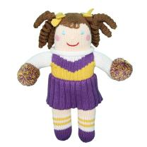 Zubels Baby Girls' Hand-Knit Cheerleader Doll, All-Natural Fibers, Eco-Friendly, 12-Inch, Purple & Gold
