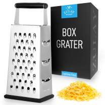 Zulay (Large) 4-Sided Cheese Grater - Stainless Steel Grater With Easy Grip Handle & Anti-Skid Base - Wide Grating Surface Box Grater With Sharp Blades For Parmesan Cheese, Ginger, Vegetables, & More