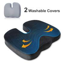 BedStory Office Seat Cushion for Tailbone Back Butt Pain Relief, Memory Foam Office Chair Cushion Booster to Lift Hips Up, Orthopedic U-Shape Design with 2 Replacement Covers