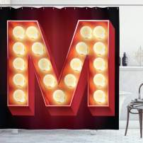 """Ambesonne Letter M Shower Curtain, Vintage Alphabet Group of Old Movie Theaters Casinos Retro Type, Cloth Fabric Bathroom Decor Set with Hooks, 75"""" Long, Vermilion Yellow A"""