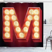 """Ambesonne Letter M Shower Curtain, Vintage Alphabet Group of Old Movie Theaters Casinos Retro Type, Cloth Fabric Bathroom Decor Set with Hooks, 70"""" Long, Vermilion Yellow A"""