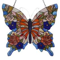"""Bieye W10027 Butterfly Tiffany Style Stained Glass Window Panel with Chain, 22"""" W x 20"""" H (Red)"""