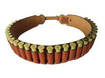 TOURBON Genuine Leather Bandolier 30 Round 20 Gauge Shotgun Shell Belt Brown