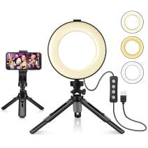 """LED Ring Light 6"""" with Tripod Stand & Phone Holder for Live Streaming & YouTube Video, Dimmable Desk Makeup Ring Light for Photography, Shooting with 3 Light Modes & 11 Brightness Level - Updated"""