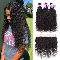 Brazilian Hair Water Wave 3 Bundles with Frontal 13x4 Free Part Lace Frontal 100% Virgin Human Hair Bundles Brazilian Hair Extensions Natural Black Color(16 18 20 + 14 frontal)