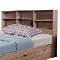 Benzara Wooden Full Size Bookcase Headboard with 6 Open Shelves, Taupe Brown