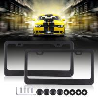 Car Licenses Plate Covers Aluminum License Plates Frames with Screw Caps 2 Pcs 2 Holes Black Powder Coated Plate Cover Frame Shield Combo