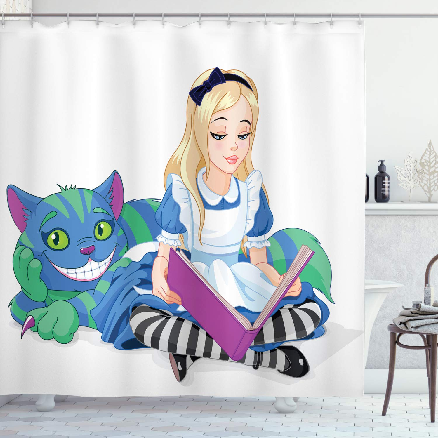 """Ambesonne Alice in Wonderland Shower Curtain, Alice Reading Book Cat Colorful World Happiness Love Character Image, Cloth Fabric Bathroom Decor Set with Hooks, 75"""" Long, White Purple"""