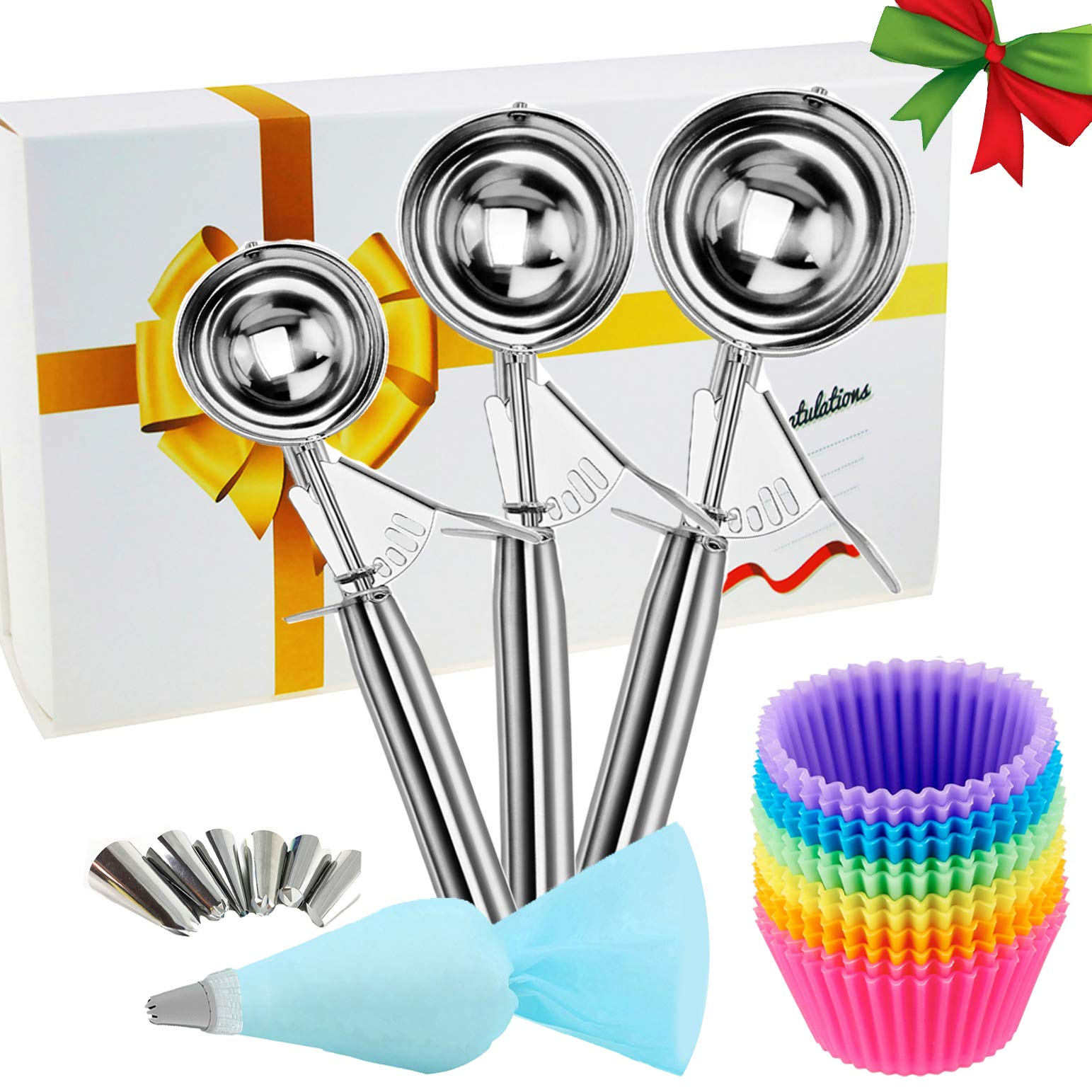 MAGICYOYO Ice Cream Scoops 3 Pcs, 18/8 Stainless Steel Large-Medium-Small Premium Cookie Scoops Heavy Duty Cupcake Melon Baller+ 12 Reusable Muffin Cups+ 6 Piping Tips + 1 Pastry Bag