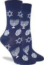 Good Luck Sock Women's Hanukkah Crew Socks - Blue, Adult Shoe Size 5-9