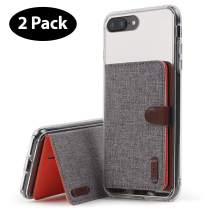 Ringke Flip Card Holder ID Adhesive 3M Premium Stick Fashion Multi-Card Slot Wallet Case Credit Card Cash Pouch Attachment Compatible with Most Smartphones, Android and More - Gray (2-Pack)